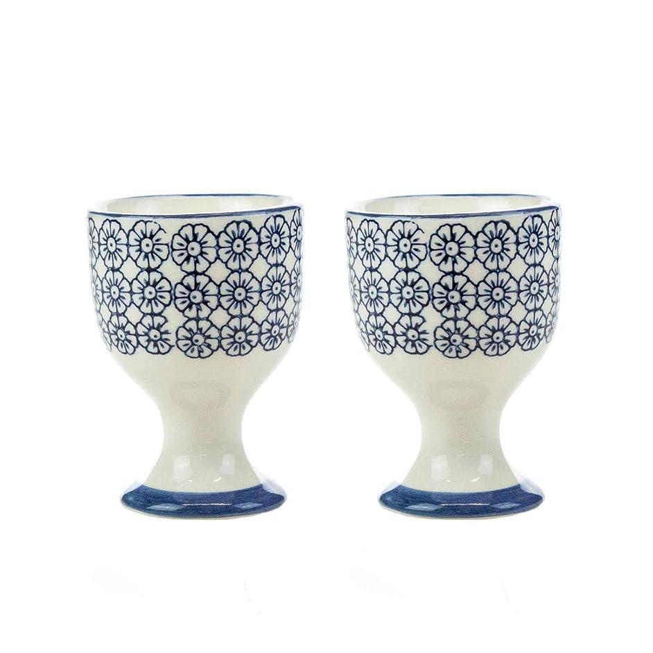 Nicola Spring Patterned Egg Cups - Blue Flower Print Porcelain Breakfast Set - Pack of 2