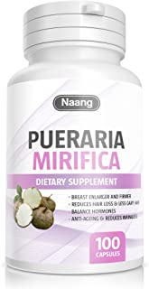 Pueraria Mirifica Supplement 500mg Root Extract Powder Promotes Women's Health, 100% Organic Natural Herbal, Menopause Relief, Vaginal Health, Improve Hair and Skin Collagen by Naang