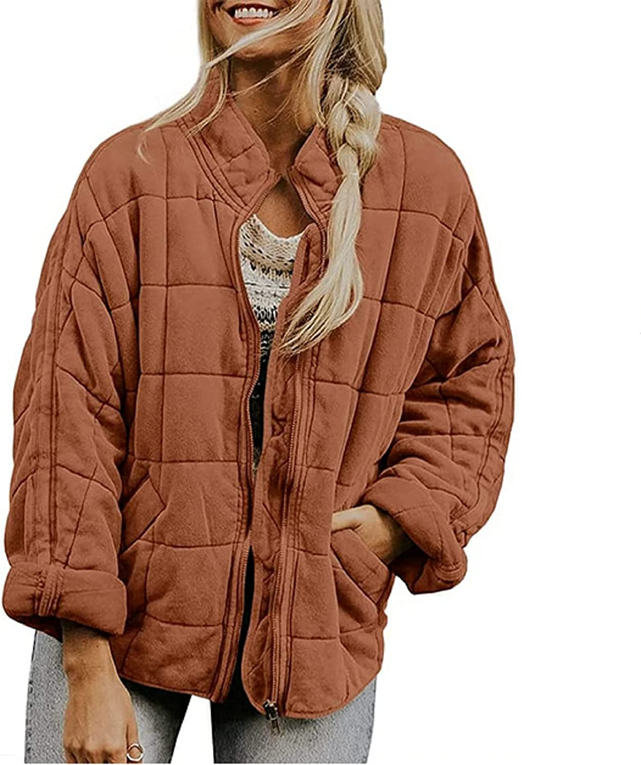 Womens Casual Dolman Quilted Jackets Zip Up Long Sleeve Lightweight Coat Loose Drop Shoulder Warm Outwear with Pockets
