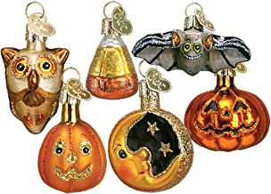 Old World Blown Glass Hanging Ornament Set of 12 - Miniature Halloween (2 Each of 6 Styles)