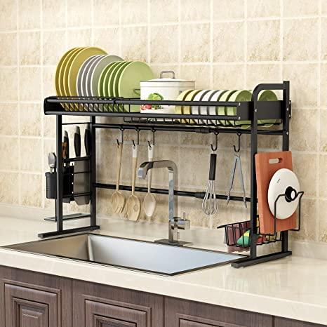 Amazon Com Benoss Expandable Dish Drying Rack Over The Sink Stainless Steel Dish Dryer For Kitchen Storage Organizer Shelf With Knife Holder Cutlery Holder And Drainboard Matte Black Black 1 Tier Home