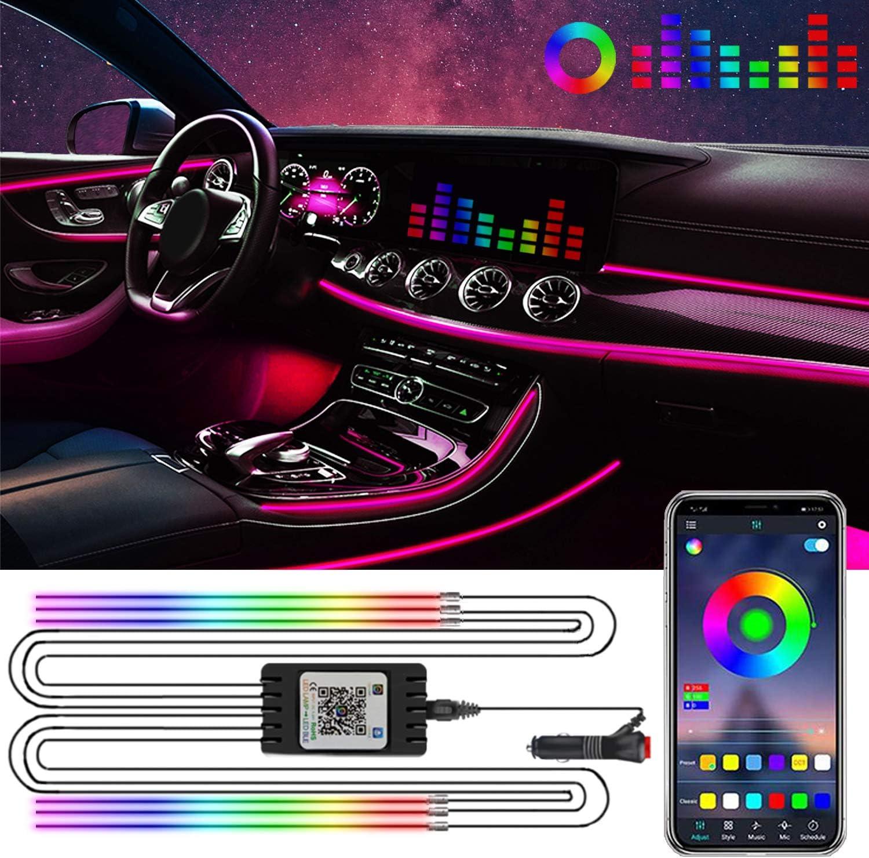 YIEUS Interior Car Lights RGB LED Control Strip 6 APP Light List price Translated