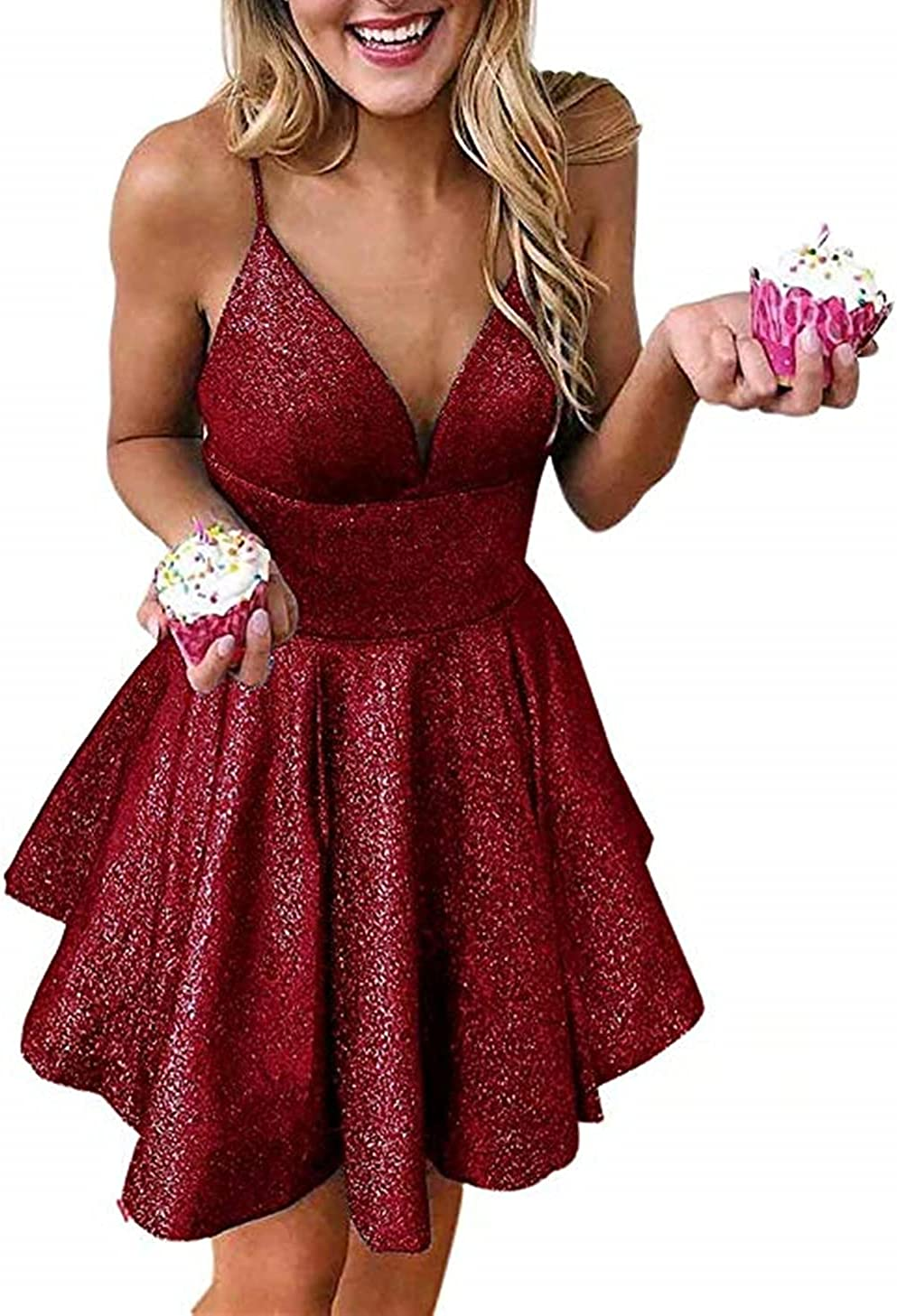 LINDO NOIVA Women's Spaghetti Straps Short Homecoming Dress Glittery Cocktail Party Gowns LN136