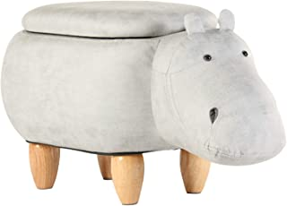 Artechworks Hippo Shaped Animal Ottoman with Storage Footrest Stool/Padded Seat, Perfect for Gift, Gray