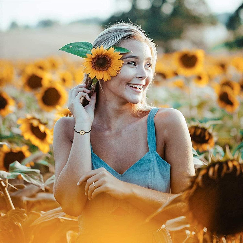 Aiyo Nice Sunflower Pinky Promise Bracelets Best Friend Long Distance Friendship Gifts for Women Teen Girls Couple Family Friendship Jewelry