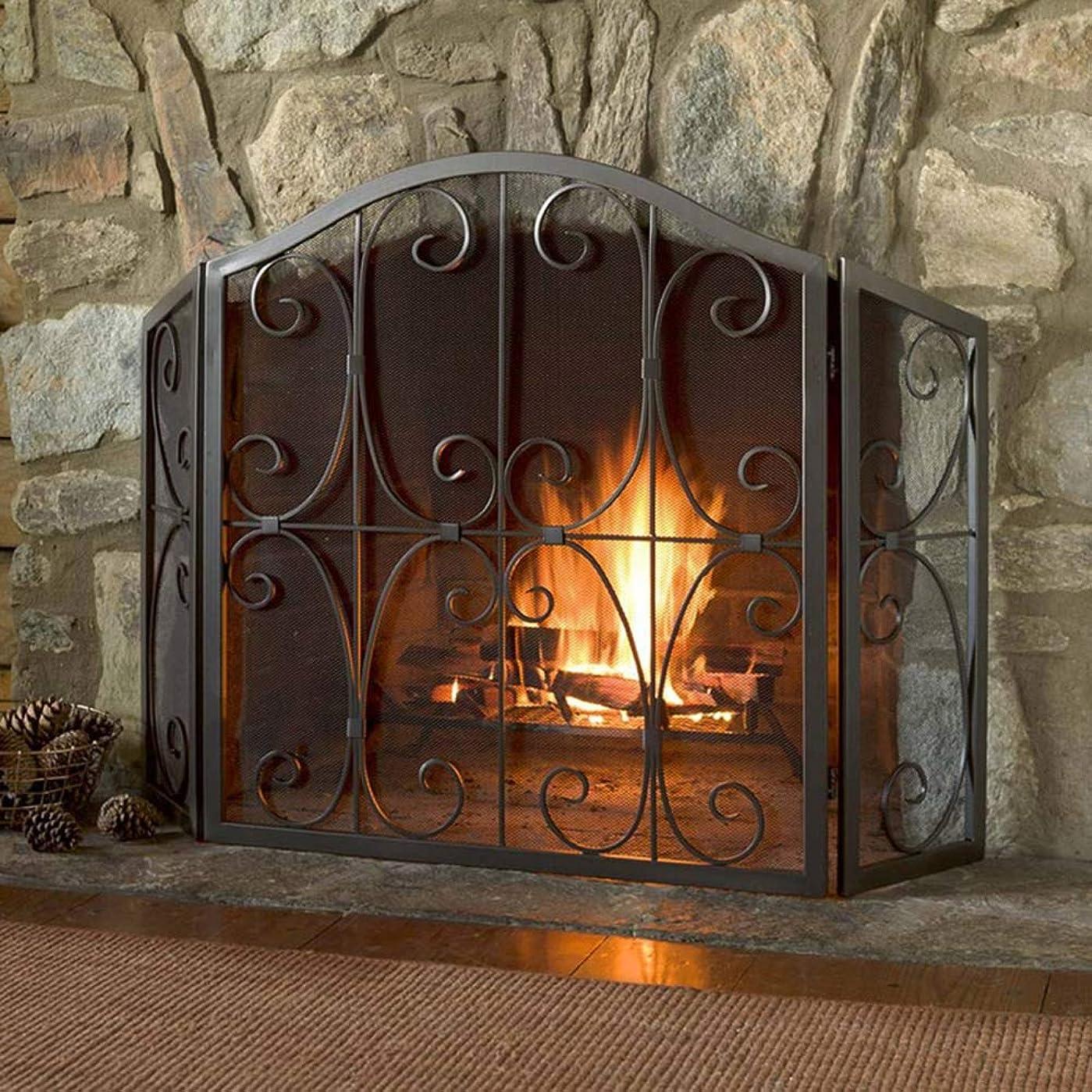 アリーナ書誌有益暖炉スクリーン 赤ちゃんペットの安全のための3パネルブラック消防ガードスクリーン、装飾的なスクロールデザインのビンテージメッシュ暖炉スクリーン