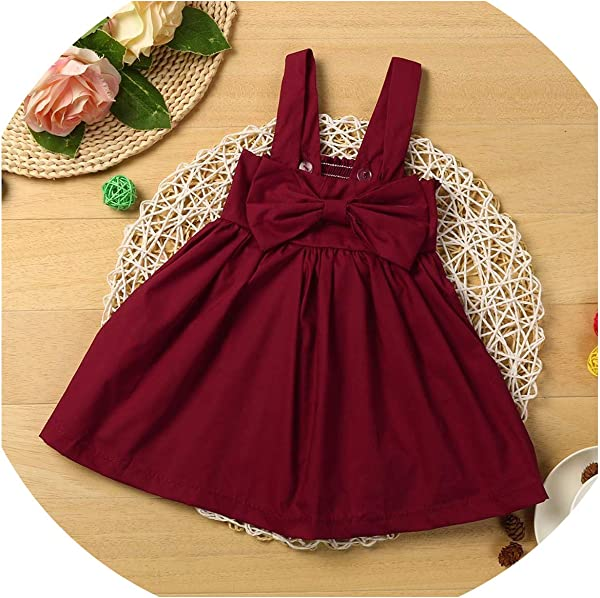 Ivyi Baby Cotton Bow Dress Hars Princess Dress Cute Soild Cotton Blend Dress 190326 Red 6M United Ates