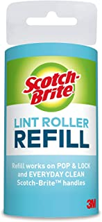 Scotch-Brite Lint Roller Refill, Works great on dog, cat, and other animal hair, Sticky, 12 Roller Refills