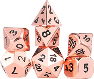 Frienda Zinc Alloy Metal Polyhedral 7-Die Dice Set for Dungeons and Dragons RPG Dice Gaming D&D Math Teaching, d20, d12, 2 Pieces d10 (00-90 and 0-9), d8, d6 and d4 (Rose Gold)