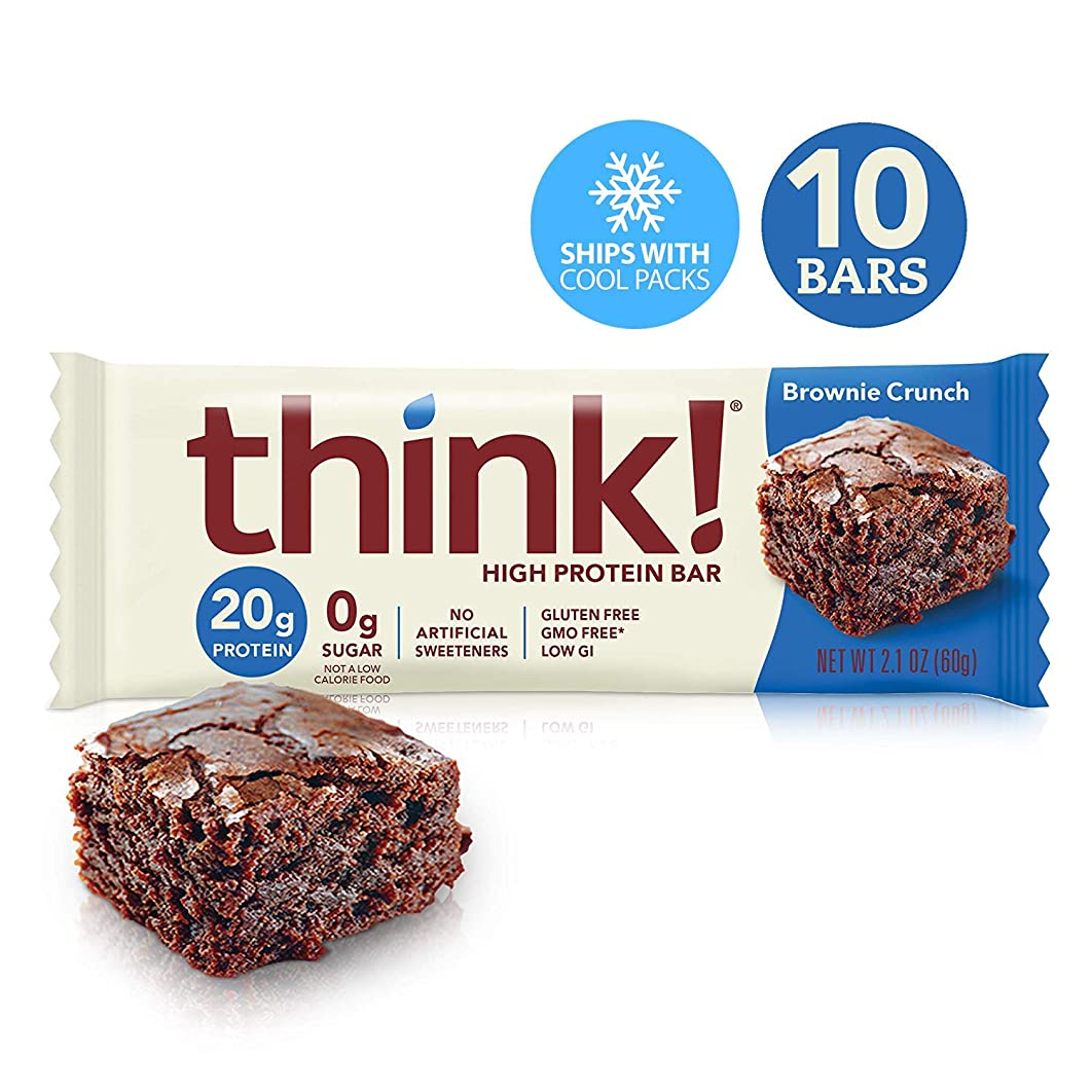 Think! (thinkThin) High Protein Bars - Brownie Crunch, 20g Protein, 0g Sugar, No Artificial Sweeteners, Gluten Free, GMO Free*, 2.1 oz bar (10Count-Packaging May Vary)