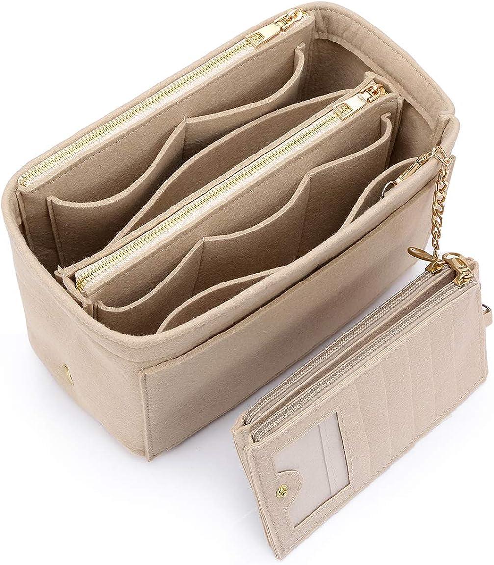 VANCORE バッグインバッグ 軽量 自立 Bag in Bag フェルト チャック付き 小さめ 大きめ バッグの中 整理 整頓 通勤 旅行 ベージュ