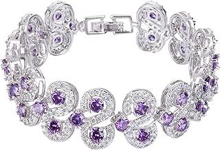 Silver-Tone CZ Birthstone Vinstage Style Art Deco Roman Tennis Bracelet