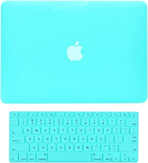 """TOP CASE - 2 in 1 Signature Bundle Rubberized Hard Case and Keyboard Cover Compatible MacBook White 13"""" (A1342 / Oct 2009-2011) - Hot Blue"""