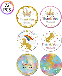 QMZ 72pcs Magical Unicorn Thank you Stickers for Kids Birthday Baby Shower Theme Party Favors Decoration Supplies - 72 Pcs