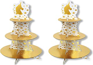 "Beistle 53369 Unicorn Cupcake Stands 2 Piece, 16"", Gold/White"
