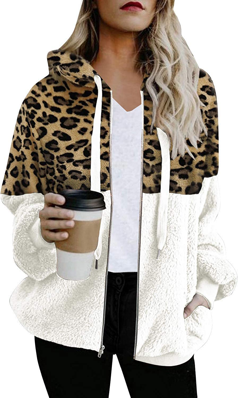 SENSERISE Womens Leopard Print Sherpa Hoodie Oversized Patchwork Fleece Zipper Jacket with Pockets
