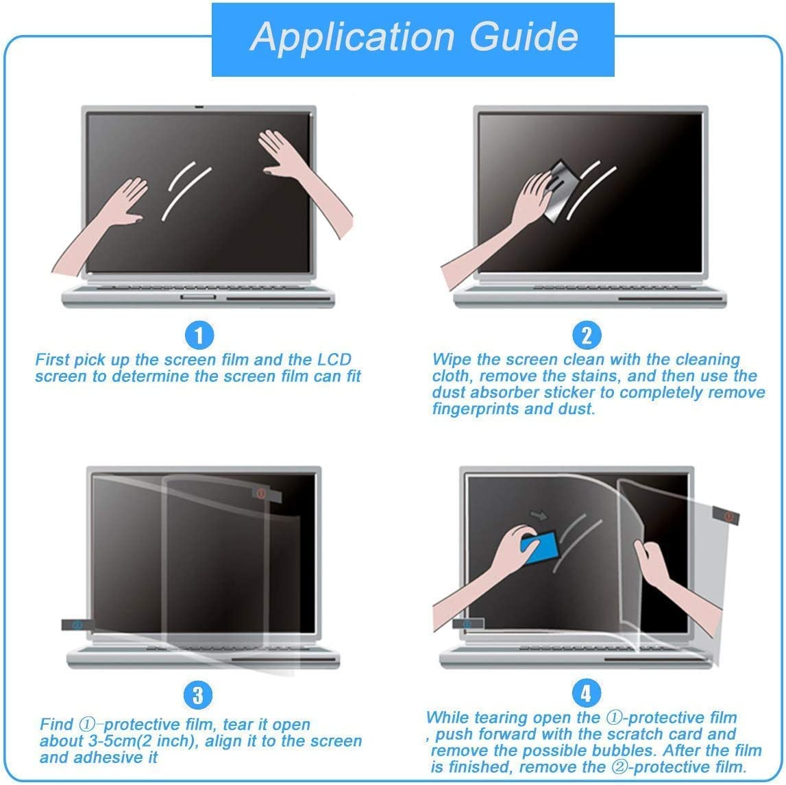 MUBUY 23 Inch Anti Glare Screen Protector Fit Diagonal 23 Inch Desktop with 16:9 Widescreen Monitor, Reduce Glare Reflection and Eyes Strain, Fingerprint-Resist (20 1/16 x 11 5/16 Inch)-3Pcs