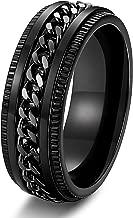FIBO STEEL Stainless Steel 8mm Rings for Men Chain Rings Biker Grooved Edge, Size 7-14