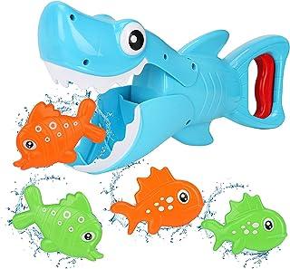 Bammax Juguetes Bañera, 5 pcs Peces Marinos Juguetes de Baño Bebe, Plastico Juego de Ducha Bebe, Juego de Pesca Piscina Ni...