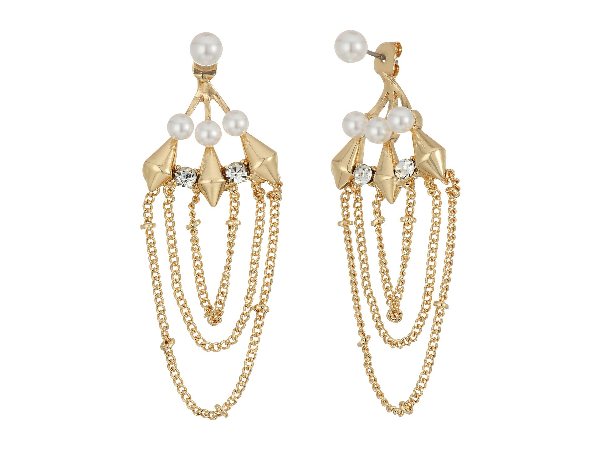 Pendientes para Mujer Steve Madden Pearl/Chain Front to Back Earrings  + Steve Madden en VeoyCompro.net
