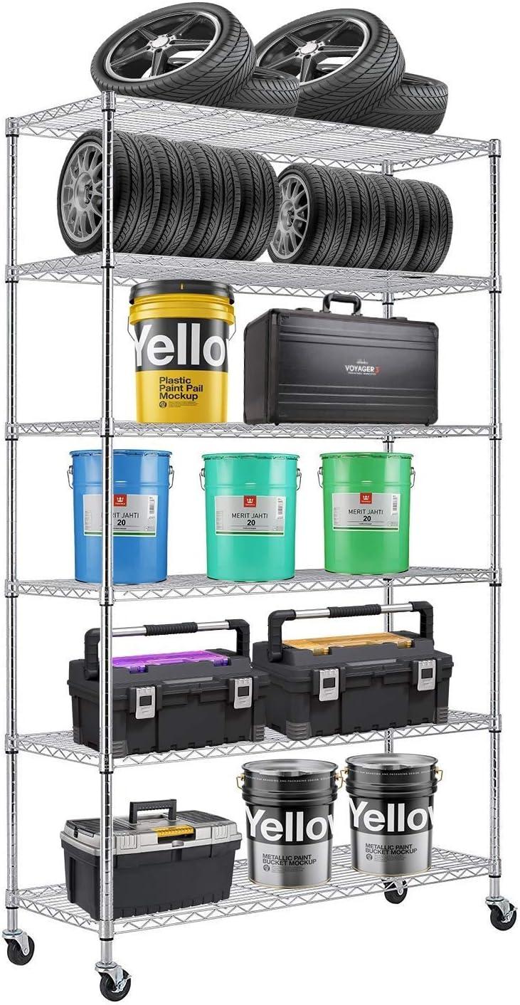 6 Tier Wire Shelving Rack Steel Shelf 48