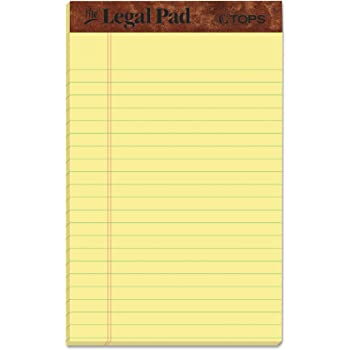 """TOPS The Legal Pad Writing Pads, 5"""" x 8"""", Jr. Legal Rule, Canary Paper, 50 Sheets, 12 Pack (7501)"""
