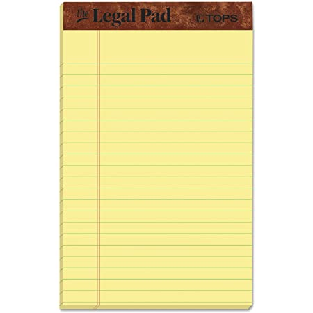 12 Pack Writing Pads Jr Legal Rule 5 x 8 Canary Yellow Paper 50 Sheets Notepad