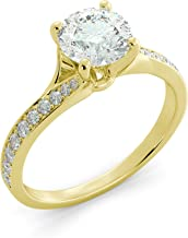 1.70 tcw Round Cut Charles & Colvard Forever One Moissanite & Round Cut Diamond Split Shank Custom Engagement Ring Your choice of 14k White Rose or Yellow Gold