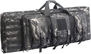 Fox Tactical 38 42 Inch Double Long Rifle Gun Case Bag Outdoor Tactical Carbine Cases Water Dust Resistant Fireproof for Hunting Shooting Storage Transport. (Black MULTICA, 38IN)