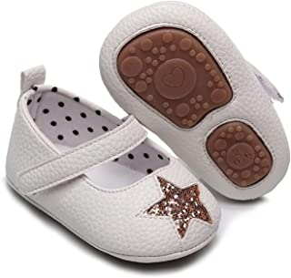Infant Baby Girls Flats Anti-Slip Rubber Sole Star Princess Dress Leather Shoes Toddler Crib Shoes (Baby Age : 0-6 Months,...