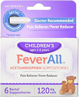 FeverAll Children's Acetaminophen Suppositories, 120 mg - 6 ea, Pack of 3