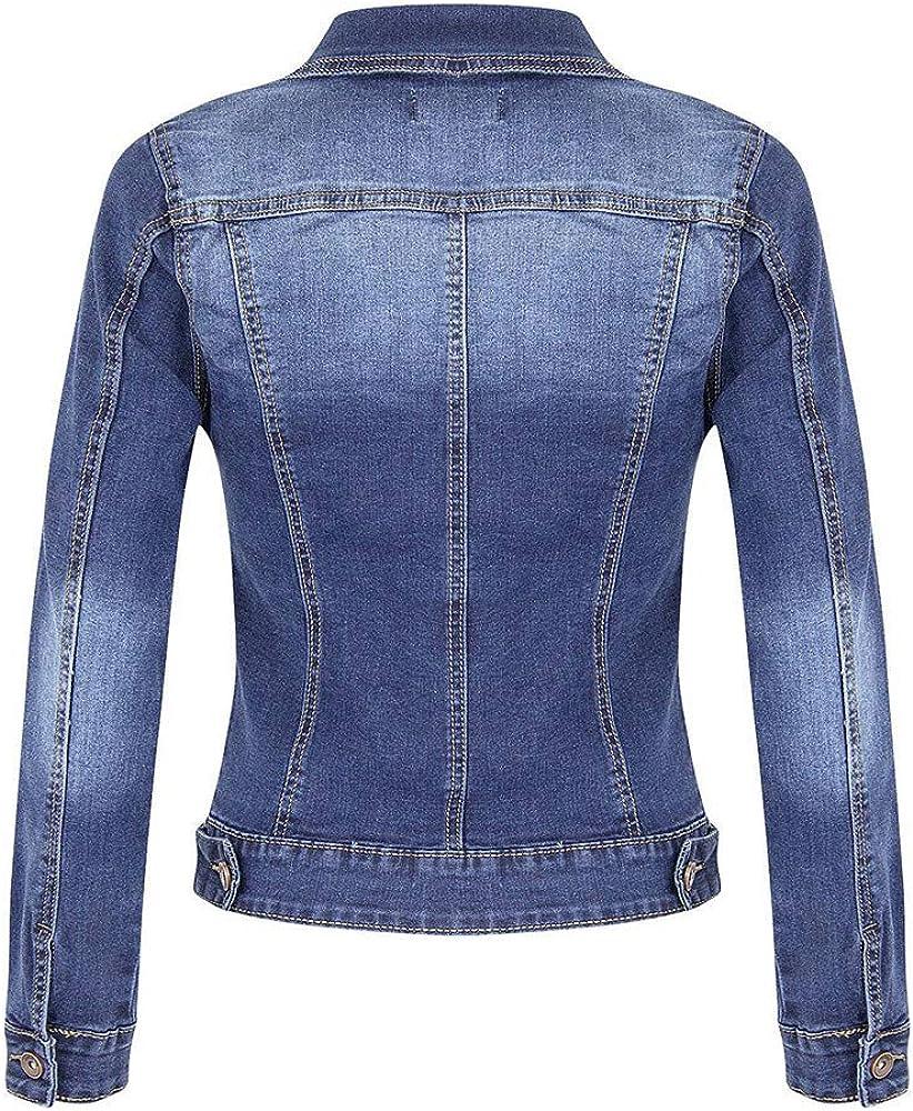 Fanxing Damen Kurze Jeansjacke Lässige Mantel Langarm Pocket Button Denim Jacket Coat Blau