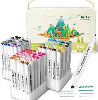 Arrtx ALP 90 Couleurs Feutre alcool, Double Pointe Marqueurs Permanents d'art avec portable boîte, pour enfant, adulte, co...
