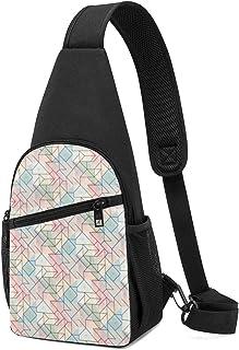 Mochila con patrón geométrico y diseño de pincel, ligera, para el hombro, mochila para el pecho, bolsa cruzada, para viaje...