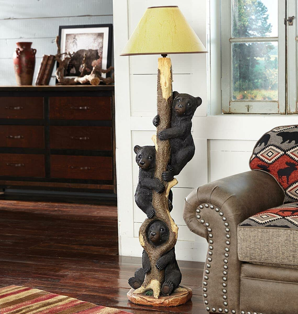 BLACK FOREST DECOR Three Bears in a Floor Rustic Lamp Liv Direct store Selling and selling - Tree