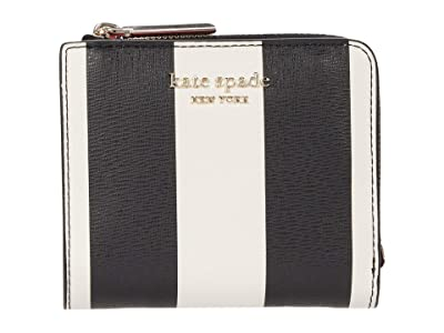 Kate Spade New York Spencer Stripe Small Bifold Wallet (Black Multi) Wallet Handbags