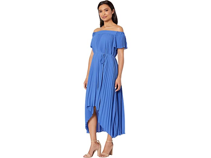 Maggy London Silky Georgette Off The Shoulder Pleated High-low Hem - Women Clothing