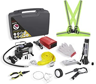 Car Emergency Kit with Air Compressor, BESTEK Auto Tool Set with 300W Power Inverter, Multi-Functional Flashlight and More, Roadside Assistance for Travel, Hiking, Camping, Hunting, Adventures