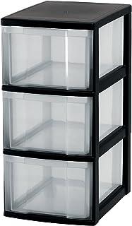 Iris Ohyama 121748.0 Tour de Rangement sur roulettes 3 tiroirs New Chest, Plastique, Noir, 3 x 15L