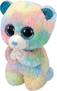 Claire's Official Ty Beanie Boo Hope The Bear Soft Plush Toy for Girls, Pastel Rainbow, Small, 6 Inches