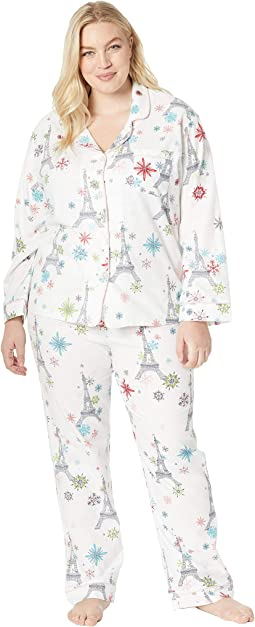 Plus Size Long Sleeve Classic Notch Collar Pajama Set