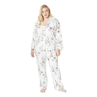 BedHead Pajamas Plus Size Long Sleeve Classic Notch Collar Pajama Set (Eiffel Snowflakes) Women