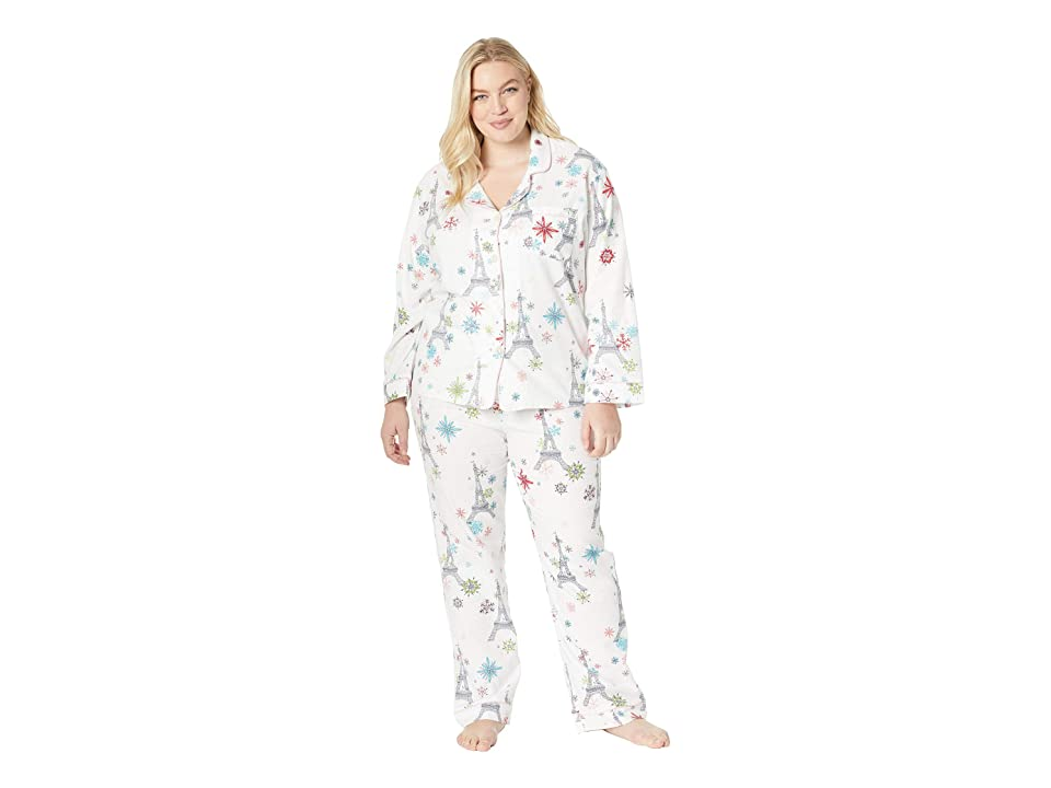 BedHead Plus Size Long Sleeve Classic Notch Collar Pajama Set (Eiffel Snowflakes) Women