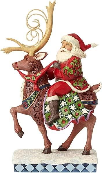 Enesco Jim Shore Heartwood Creek Santa Riding Reindeer Figurine 10 75 Multicolor
