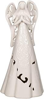White Lace Cutout Reading Angel Ceramic LED Light-Up 12 inch Christmas Figurine Decoration
