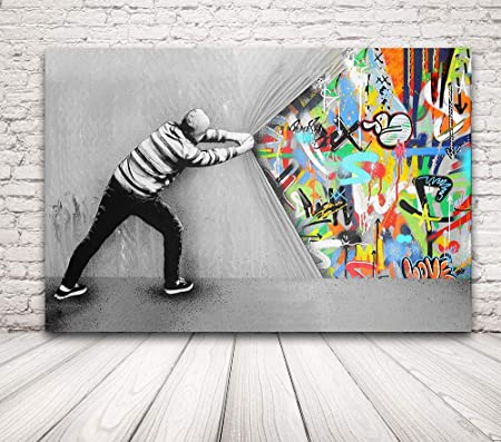 Poster Wall Art K Art Print Banksy Graffiti Street Art Picture on Canvas