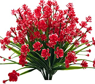 JEMONG Artificial Flowers, 4 Bundles Outdoor UV Resistant Greenery Shrubs Plants Indoor Outside Hanging Planter Home Garden Decorating(RED)