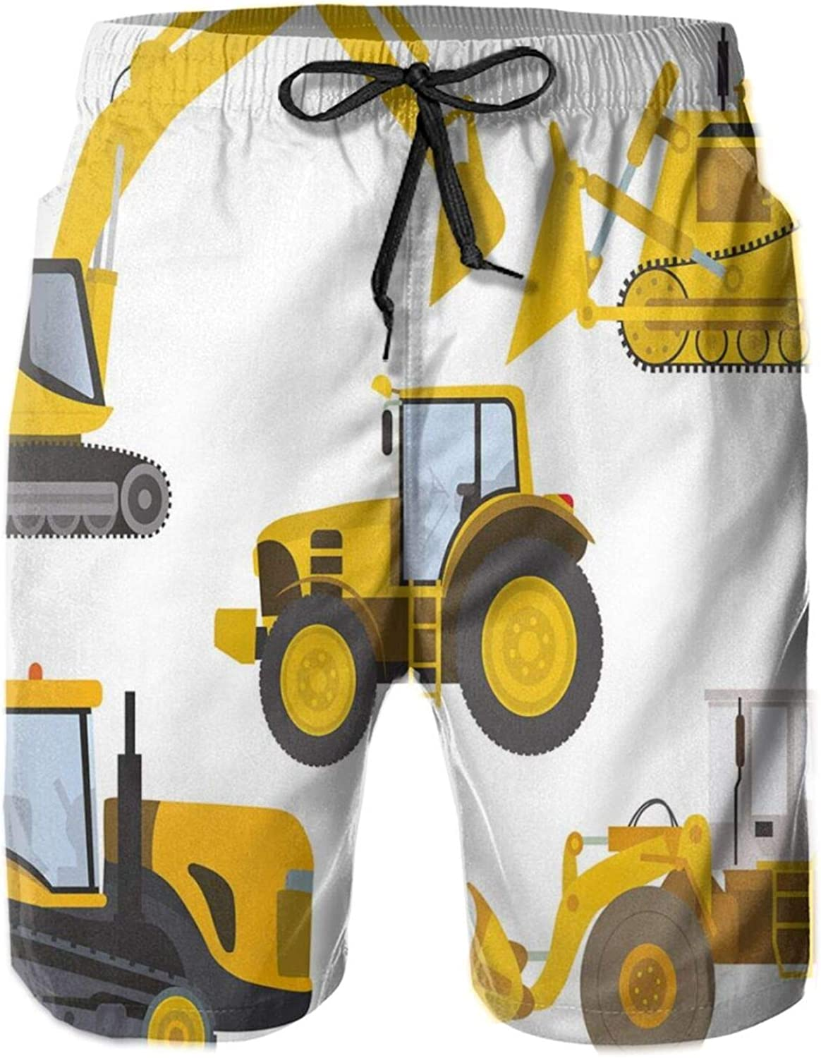 MUJAQ Animation Inspired Heavy Machinery Drawing Construction Cartoon Bulldozer Print Swimming Trunks for Men Beach Shorts Casual Style,M