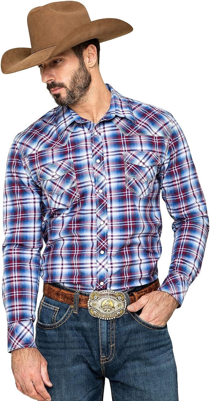 Rock and Roll Cowboy Long Sleeve Yarn-Dye Plaid Snap Shirt B2S5082