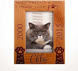 Personalized Pet Memorial, Customized Picture Frame, Cat and Dog Wood Photo Frame - Custom Frame - Birthday Gift Size Options: 4x6 | 5x7 | 8x10 PC1